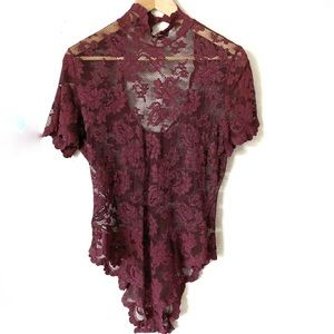 Other - Wine Red Crotchet Floral mesh Design bodysuit